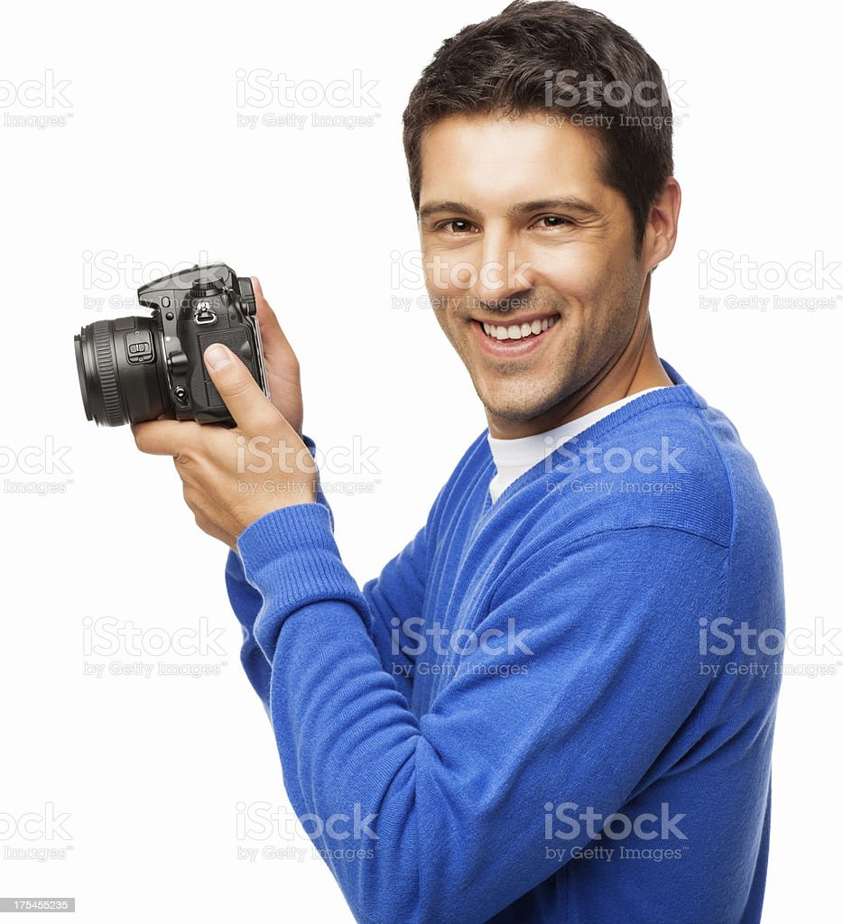 Young Man Holding DSLR Camera - Isolated stock photo