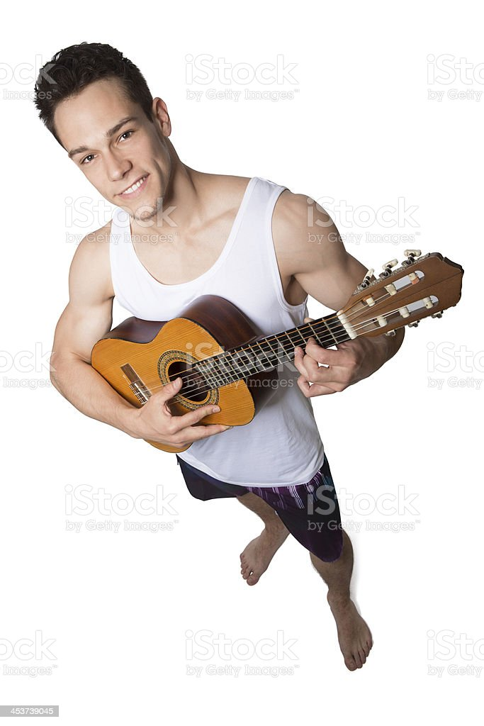 Young Man Holding Guitar royalty-free stock photo
