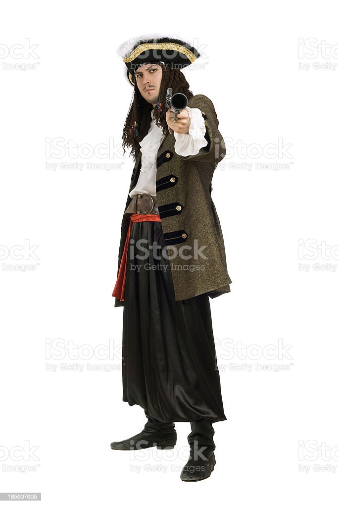 Young man in a pirate costume royalty-free stock photo