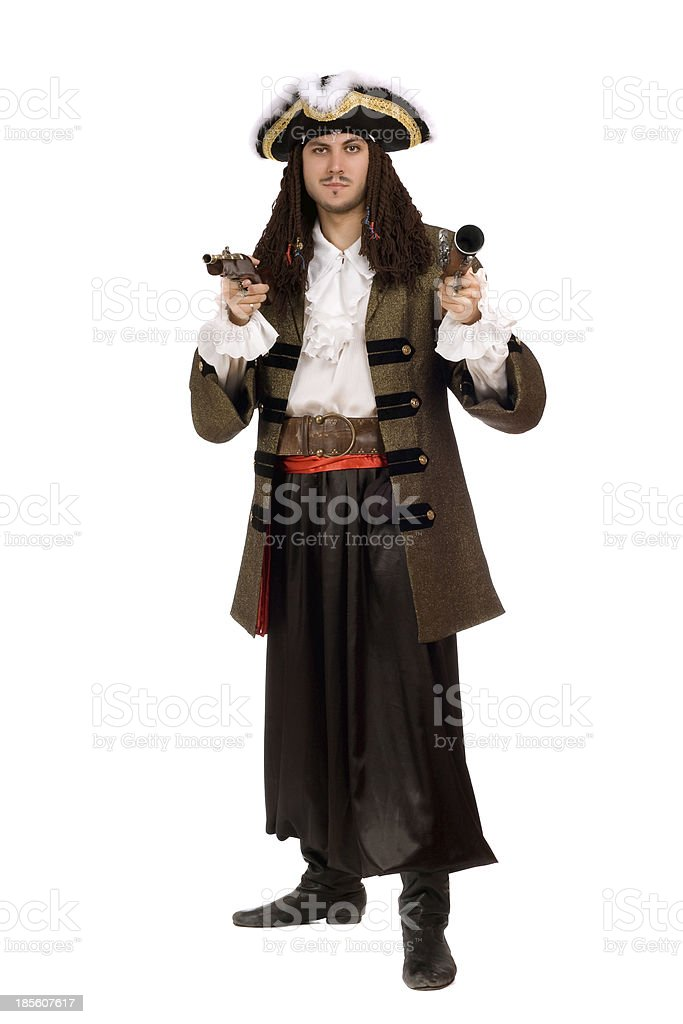 Young man in a pirate costume with pistol royalty-free stock photo