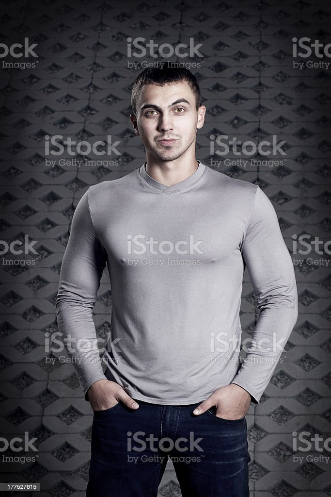 young man in a sweater royalty-free stock photo