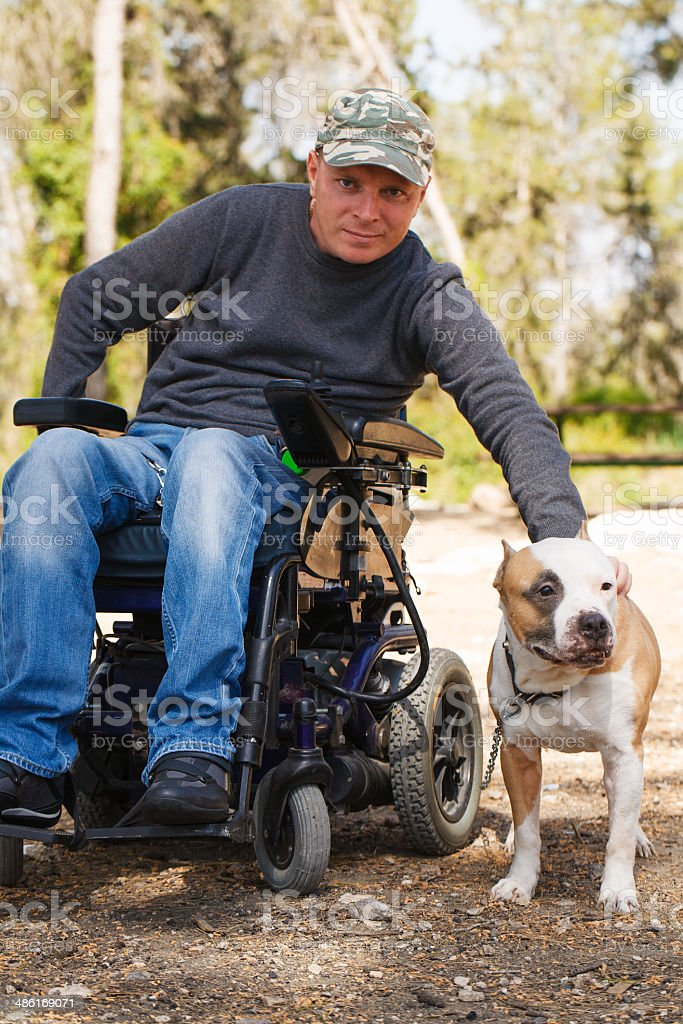 Young man in a wheelchair with his faithful dog. stock photo