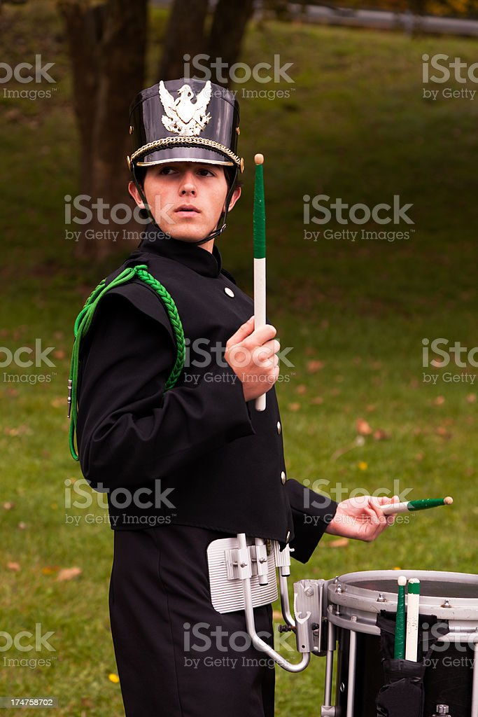 Young man in band uniform royalty-free stock photo