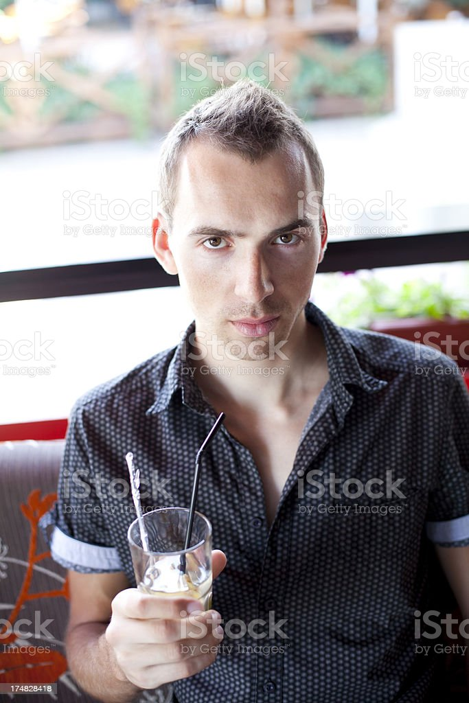 Young Man In Cafe royalty-free stock photo