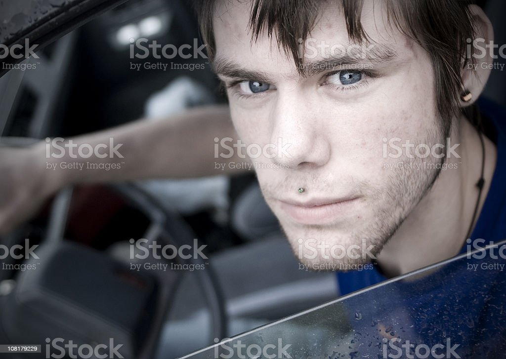 Young Man in Car royalty-free stock photo