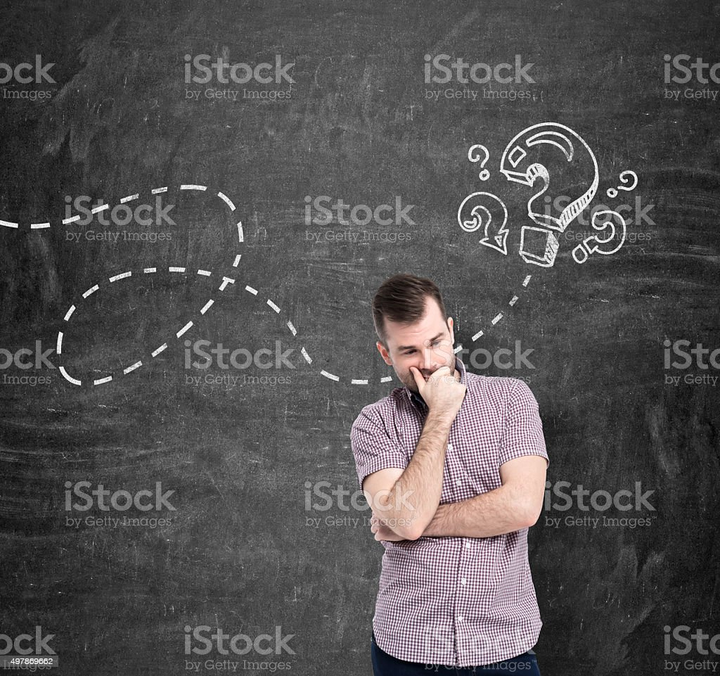 young man in casual shirt is thinking about unanswered questions vector art illustration