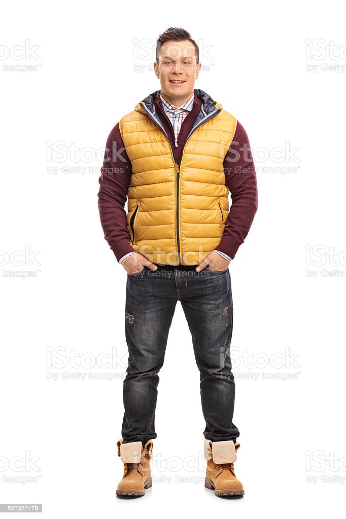 Young man in casual winter clothes stock photo