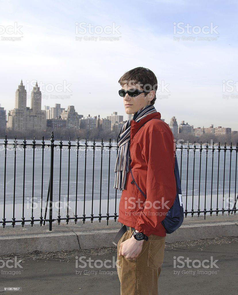 Young Man in Central Park royalty-free stock photo