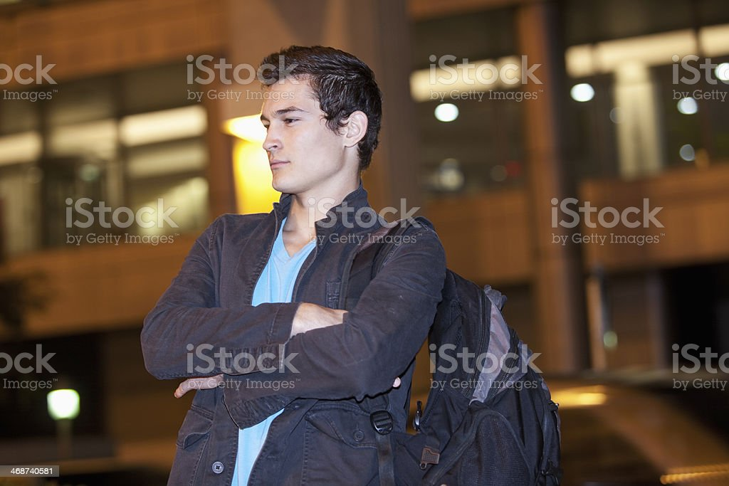Young man in city stock photo