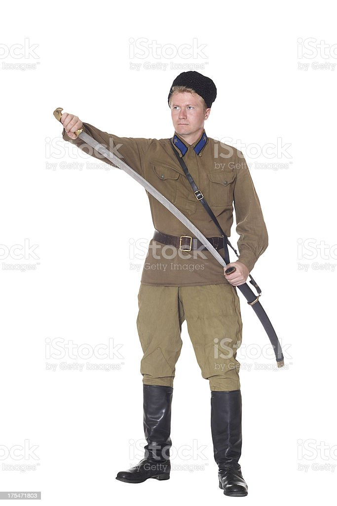 Young man in clothes of Red Army cavalry royalty-free stock photo