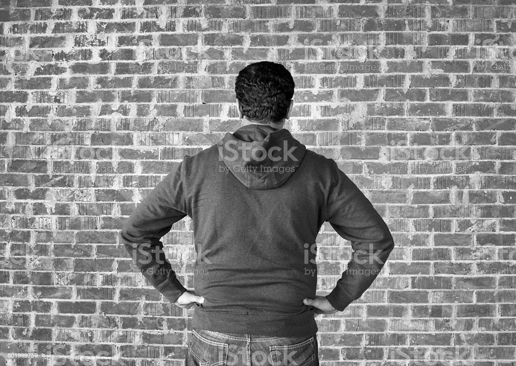 Young man in confused ,black and white stock photo