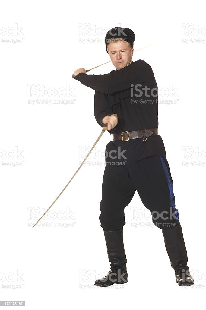 Young man in Cossack clothes stock photo