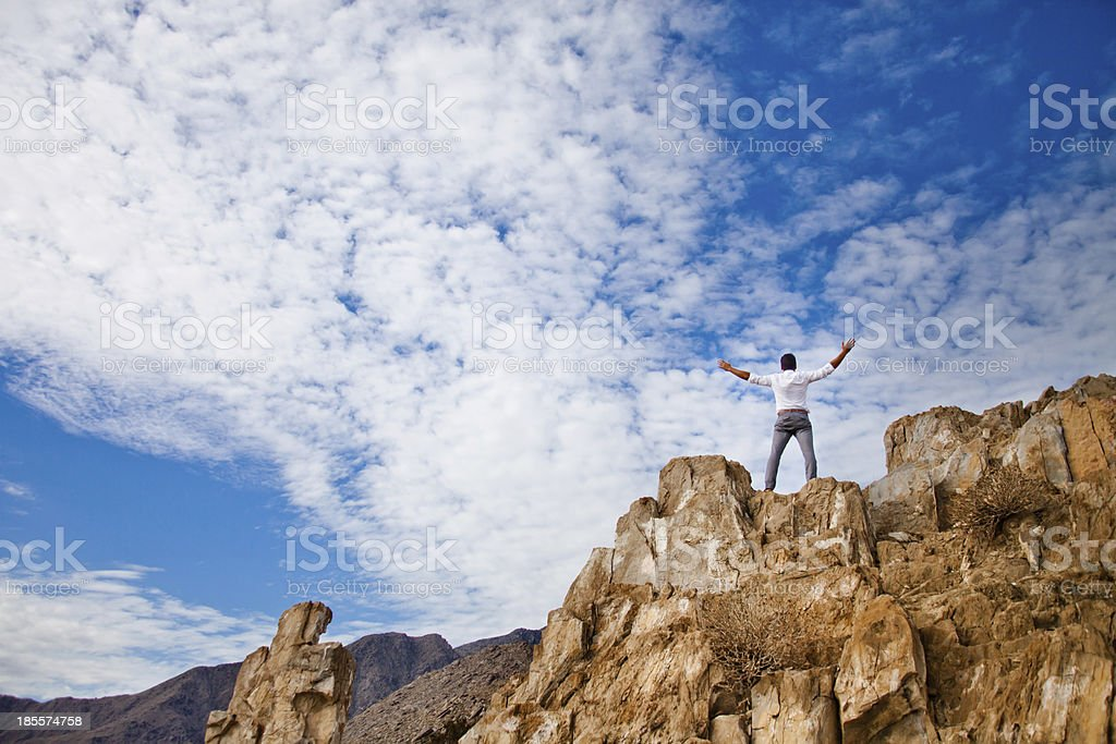 Young man in desert. royalty-free stock photo