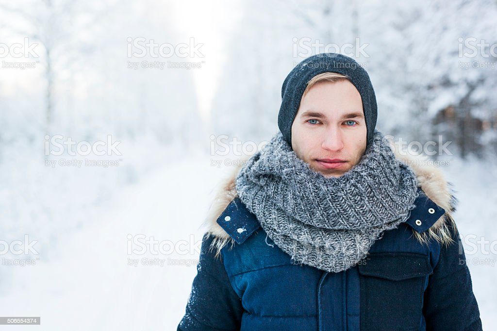 Young man in forest stock photo