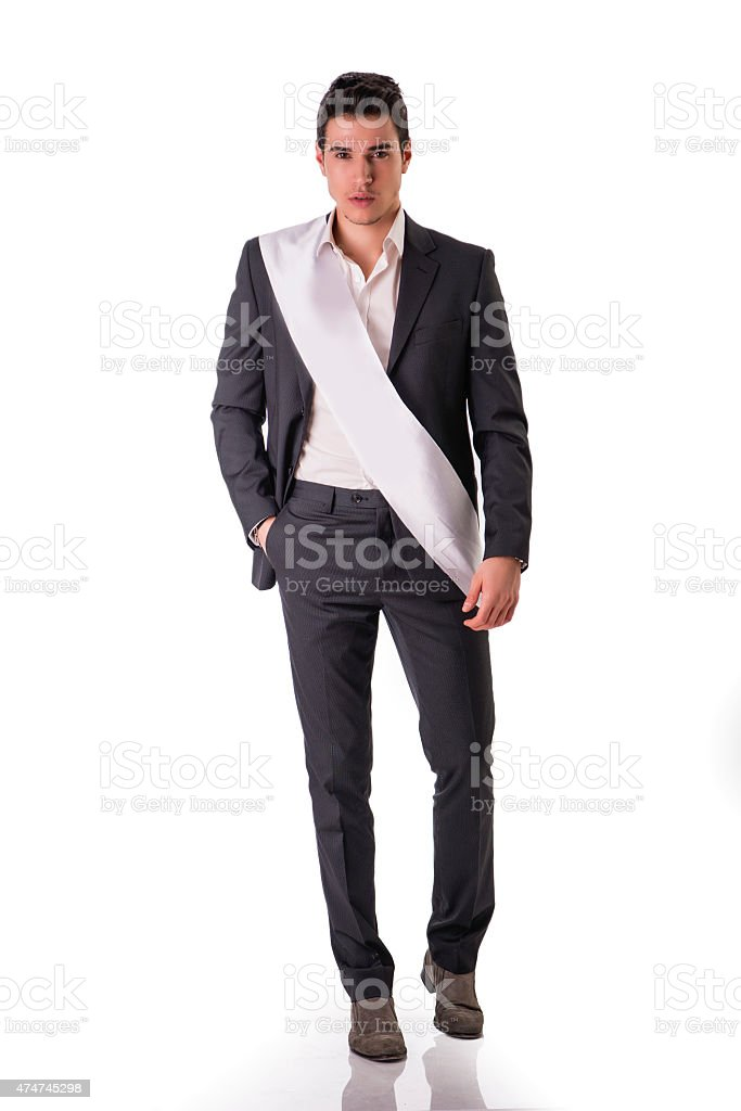 Young Man in Formal Suit with Blank White Sash as stock photo