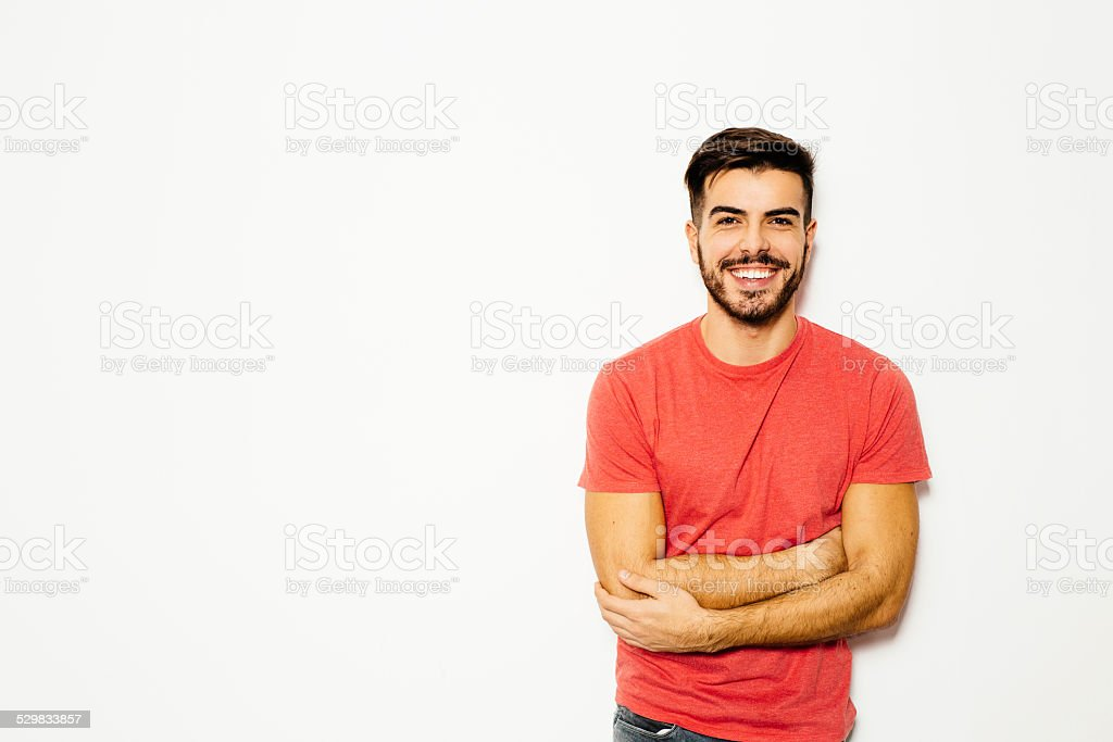 Young man in front of  white background stock photo