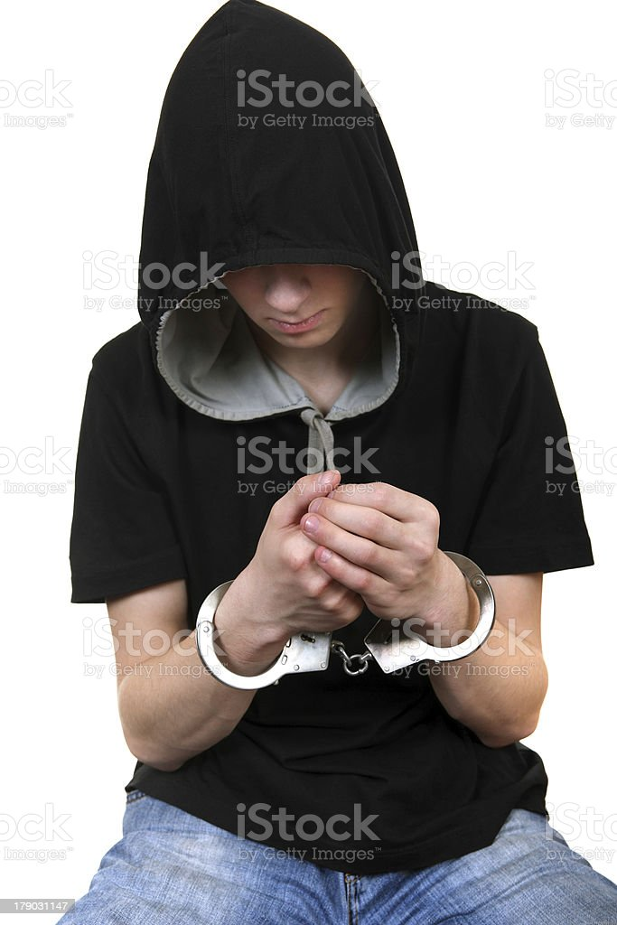 Young Man in Handcuffs royalty-free stock photo