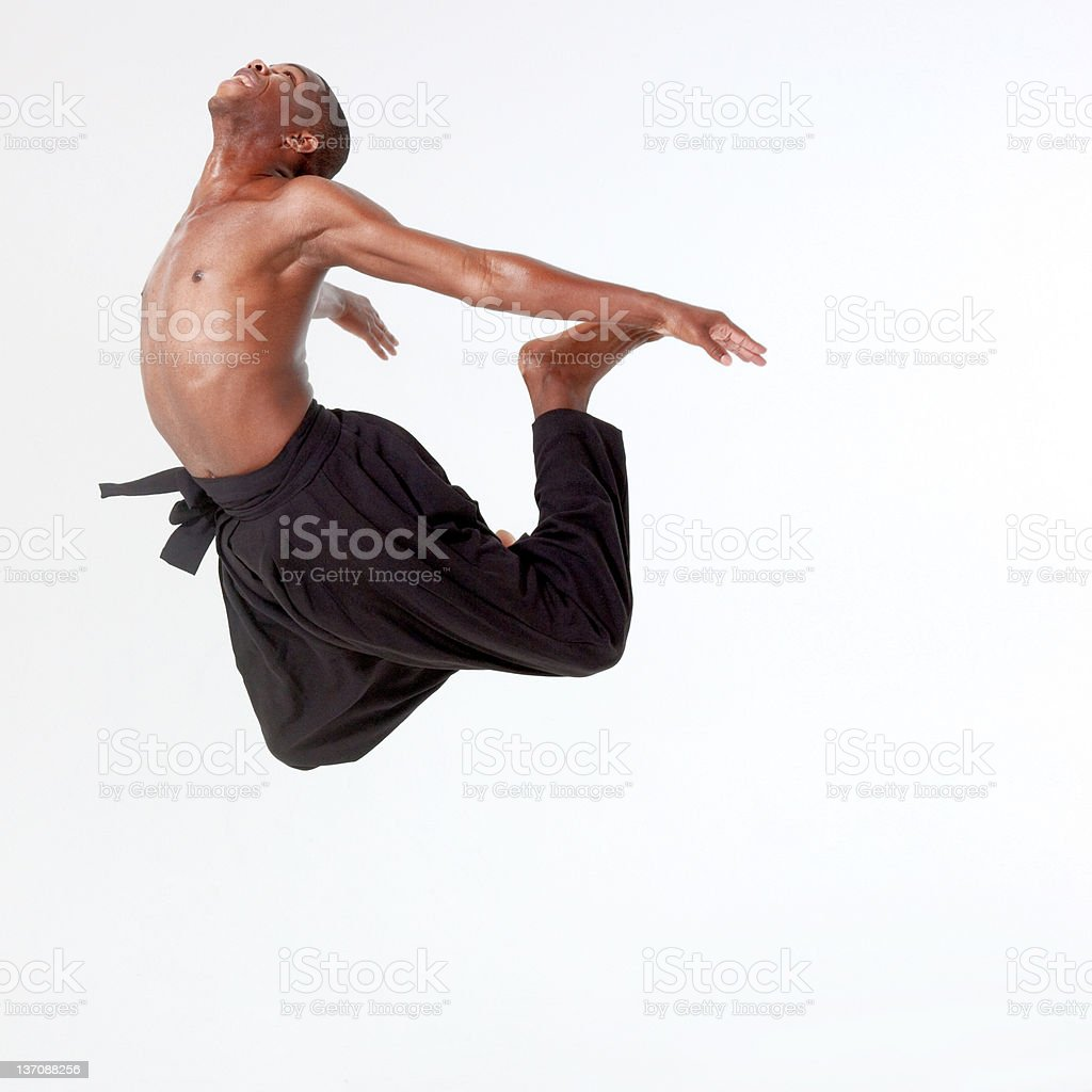 Young man in mid air stock photo