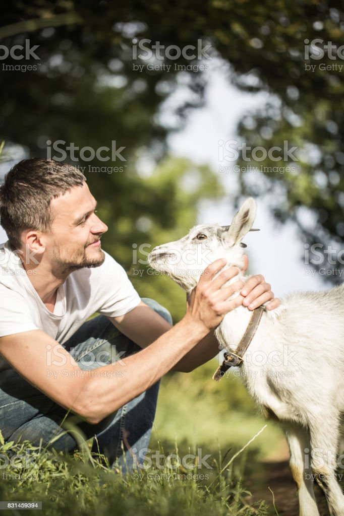young man in nature with a goat stock photo