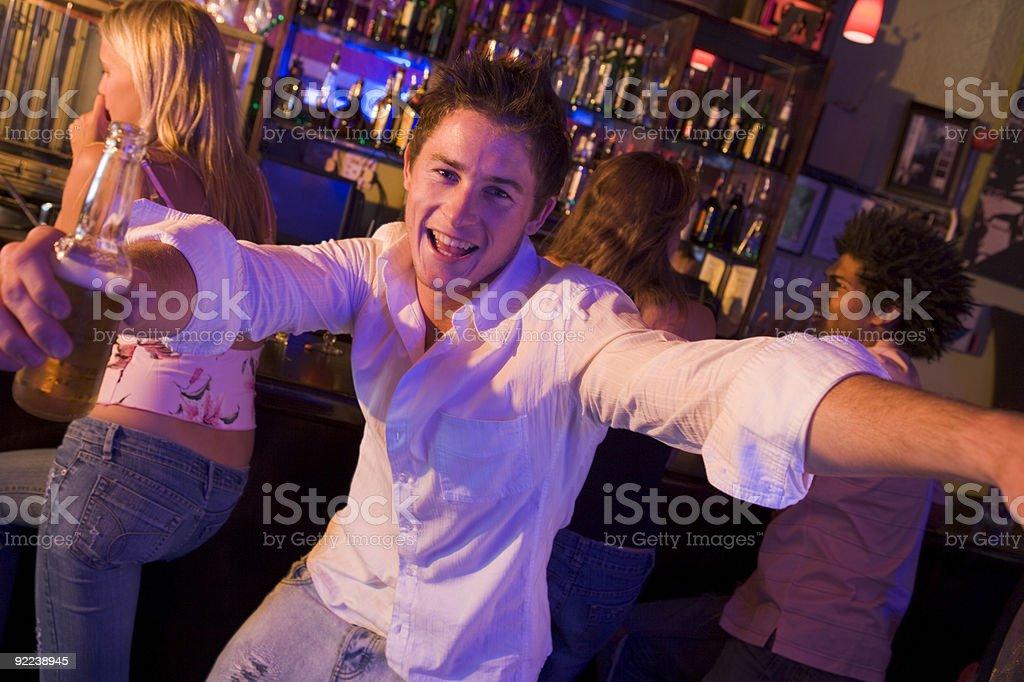 Young man in nightclub stock photo