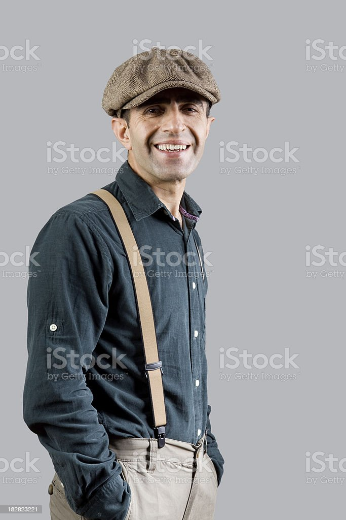 Young man in old fashioned style stock photo