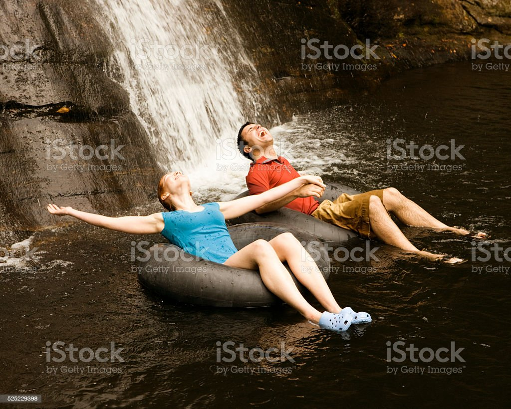 Young Man in Raft stock photo