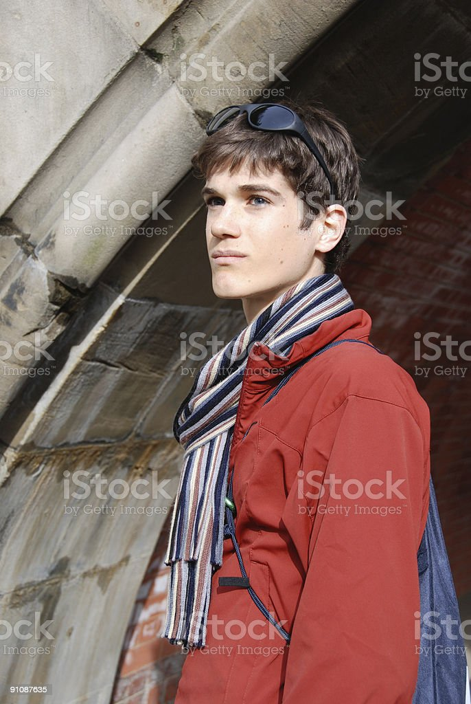 Young Man in Red Jacket royalty-free stock photo