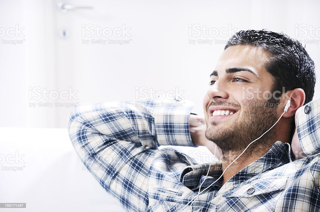 young man in relax  listening music royalty-free stock photo