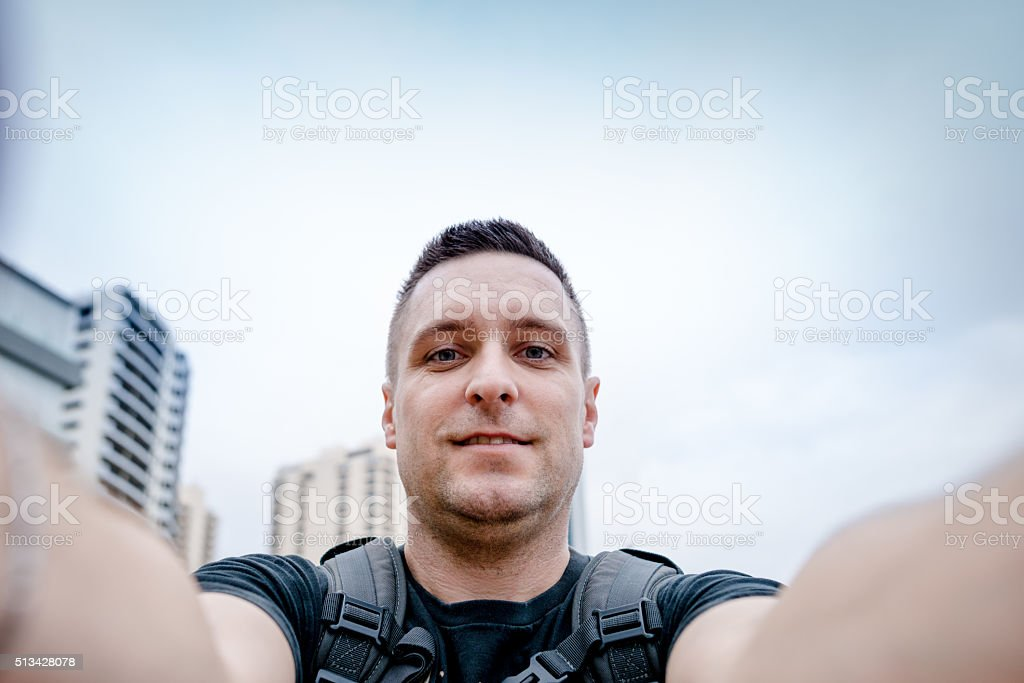 Young man in Sidney taking a selfie stock photo