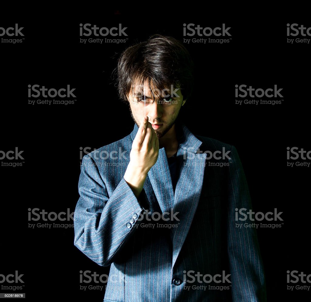 Young Man in Suit Jacket - Center stock photo