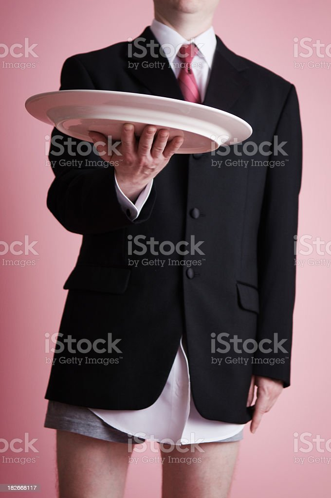 Young Man in Suit with Serving Platter but No Pants royalty-free stock photo