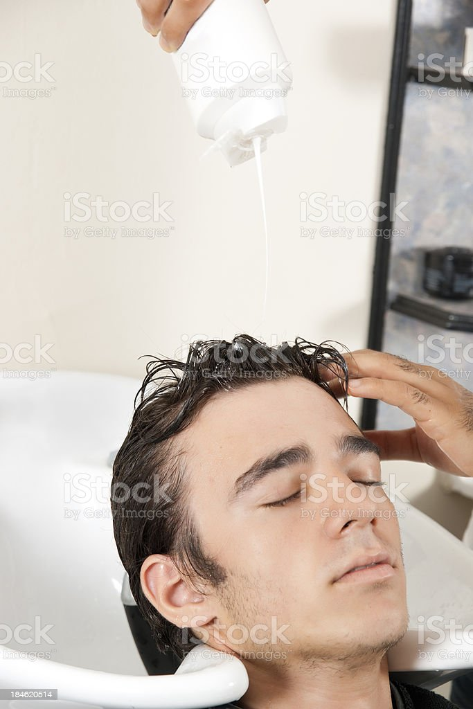 young man in the hair salon royalty-free stock photo
