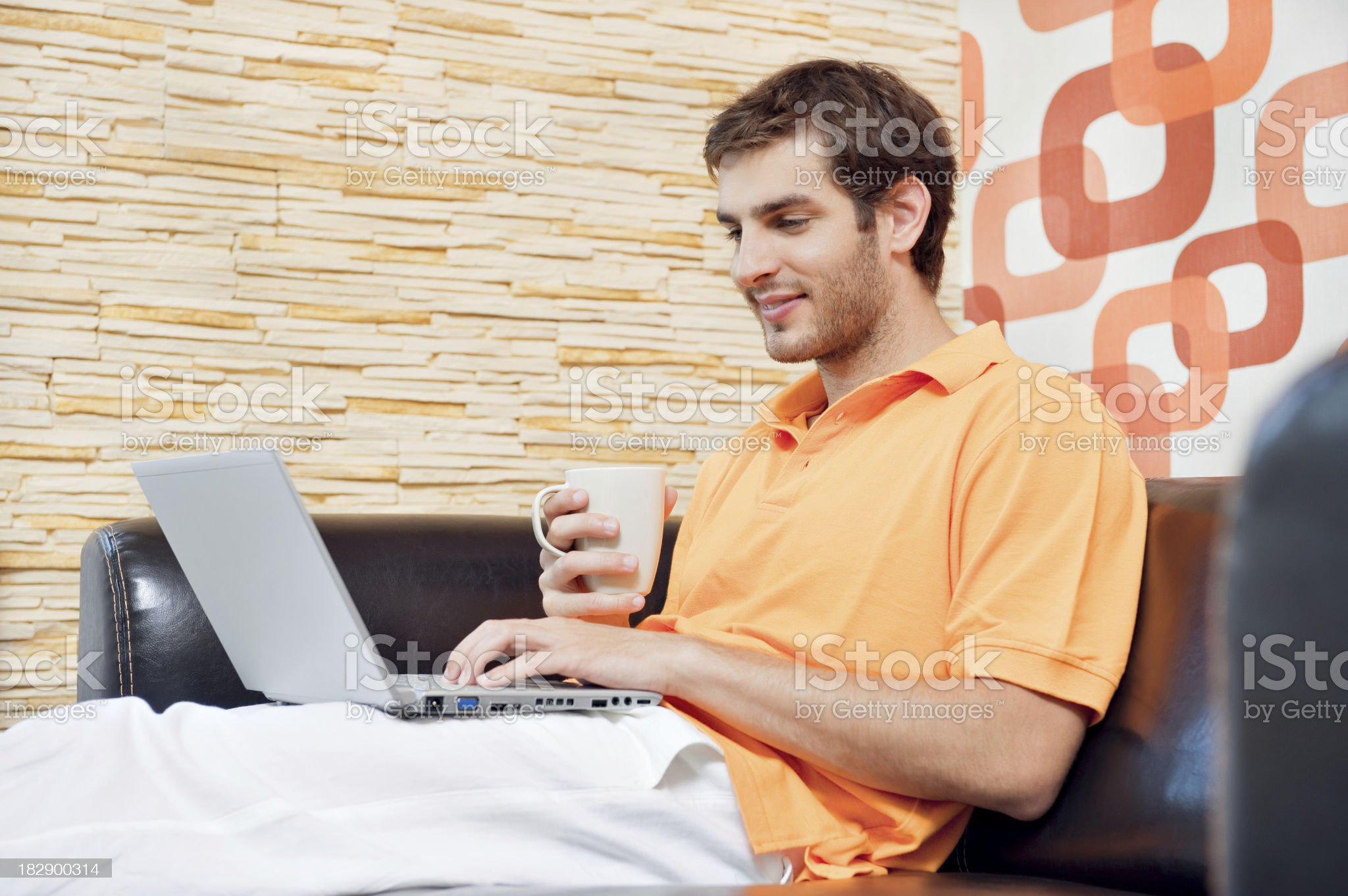 Young man in the living room royalty-free stock photo