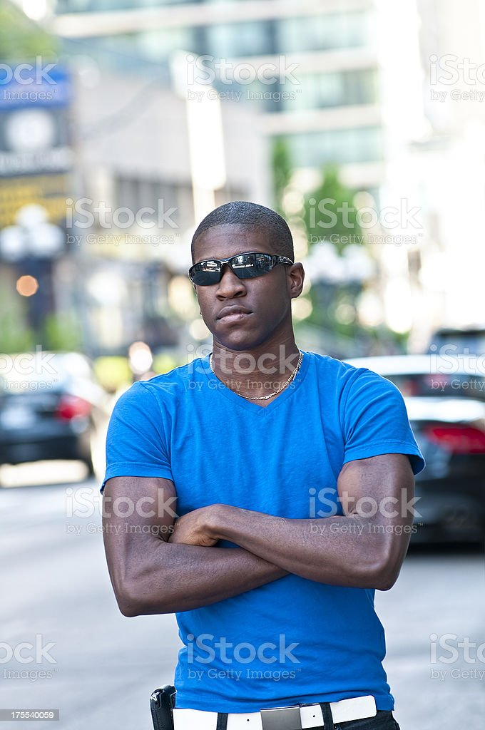 Young man in the urban area stock photo