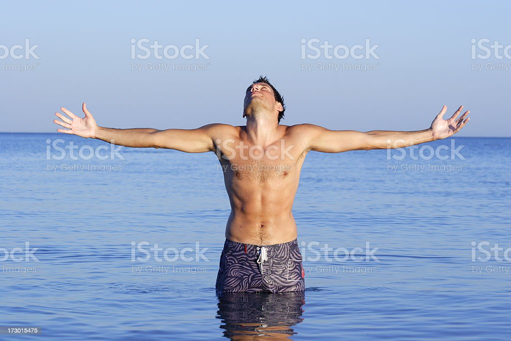Young man in the water royalty-free stock photo