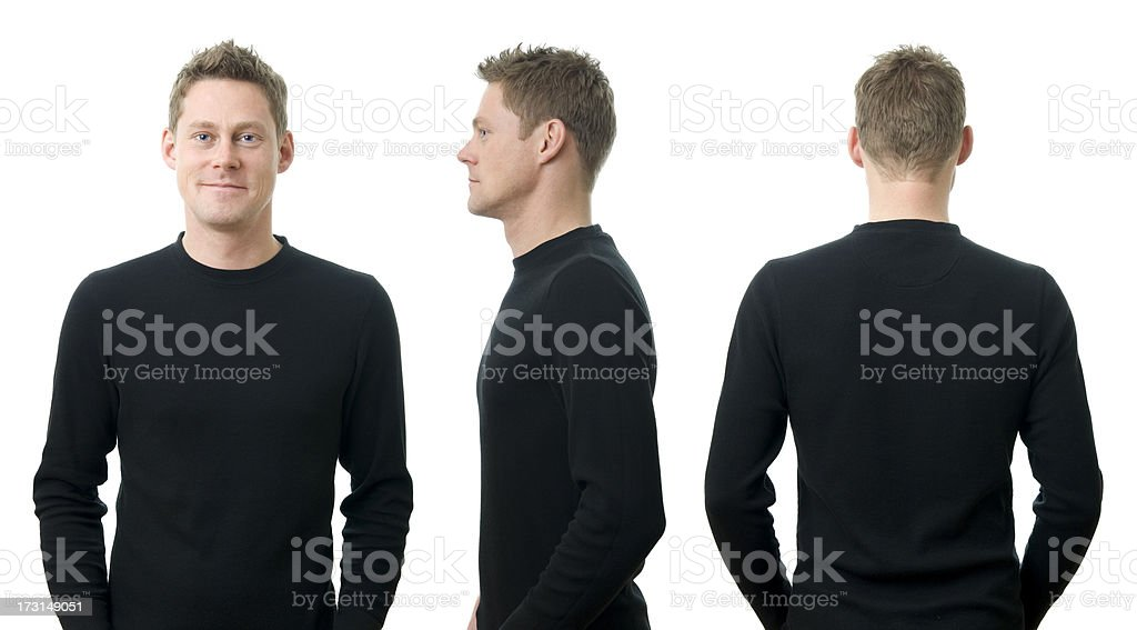 A young man in three different poses stock photo