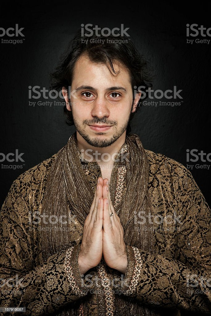 Young man in traditional Indian clothes stock photo