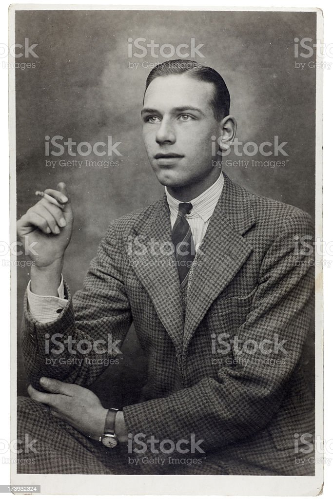 Young Man in Tweed Smoking royalty-free stock photo