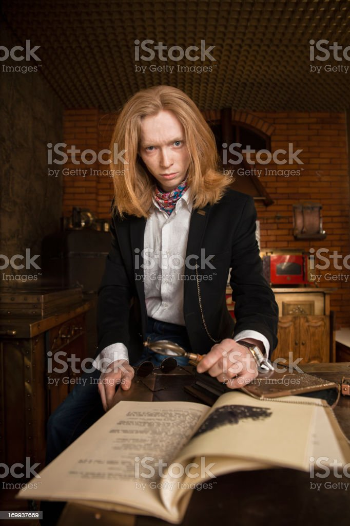 Young man in vintage steampunk style dressing stock photo