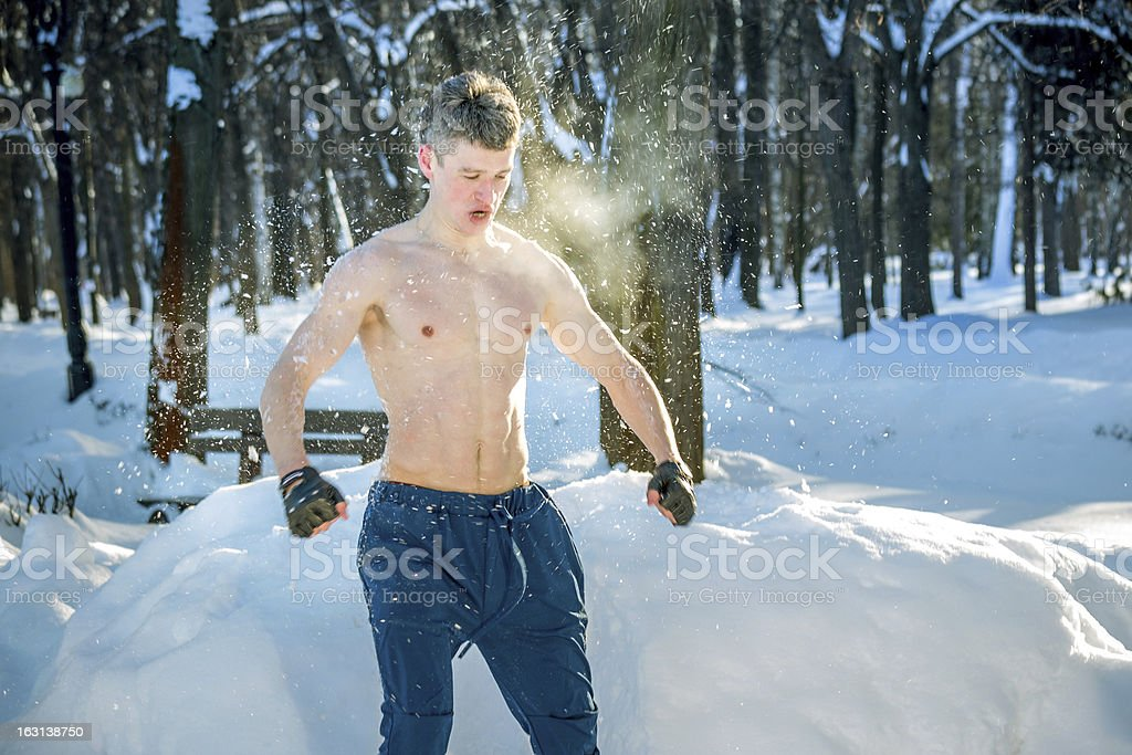 Young man inside snow cloud royalty-free stock photo