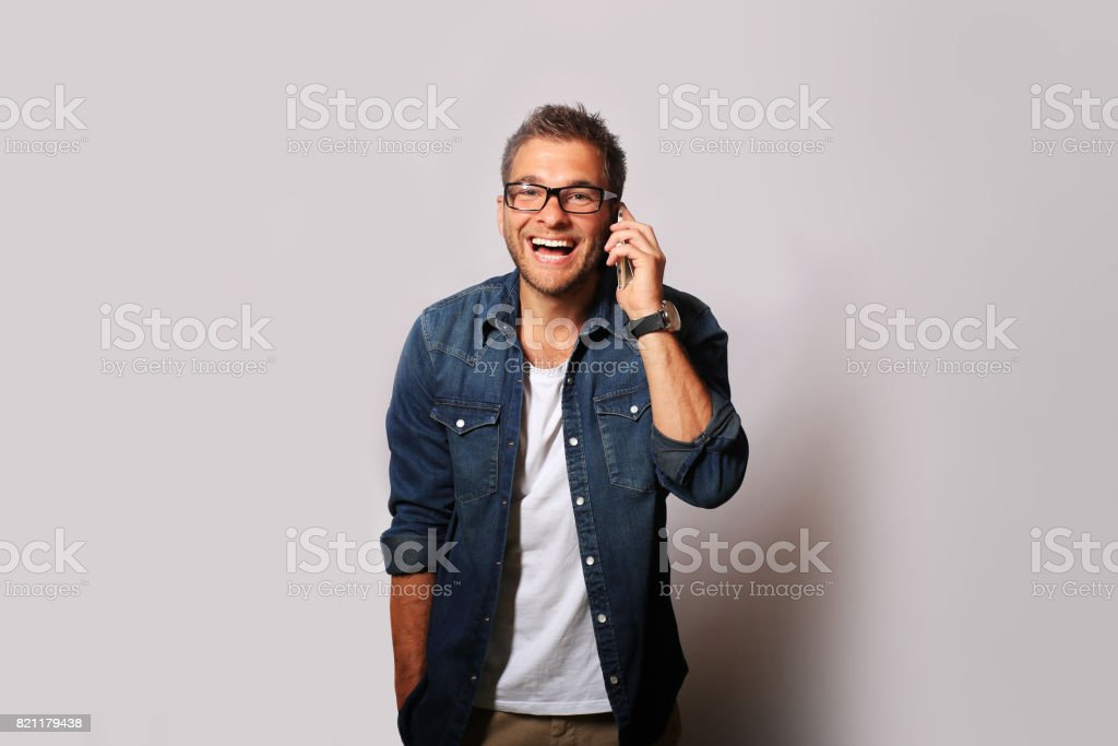 Young man is calling stock photo