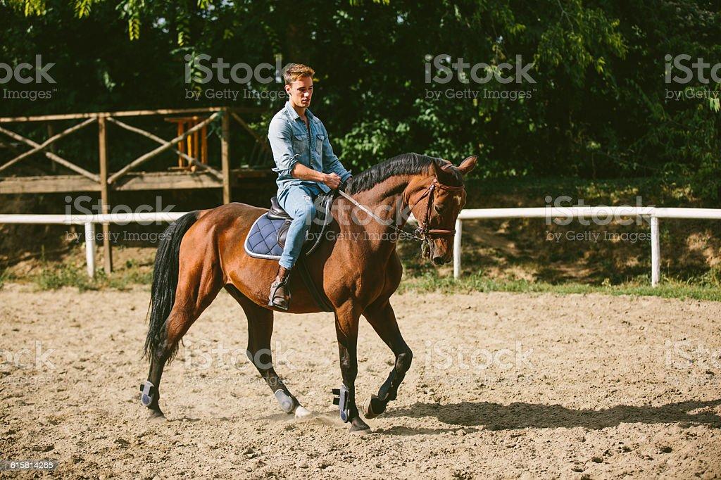 Young man is enjoying horseback riding in nature. stock photo
