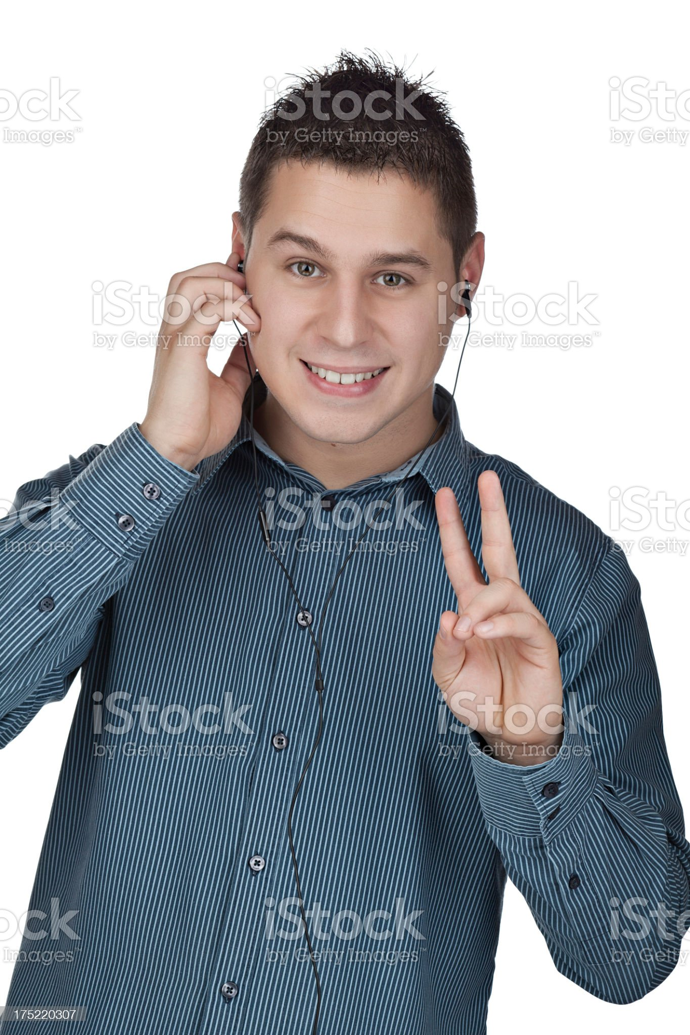 Young man is listening royalty-free stock photo