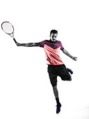 Young man is playing tennis