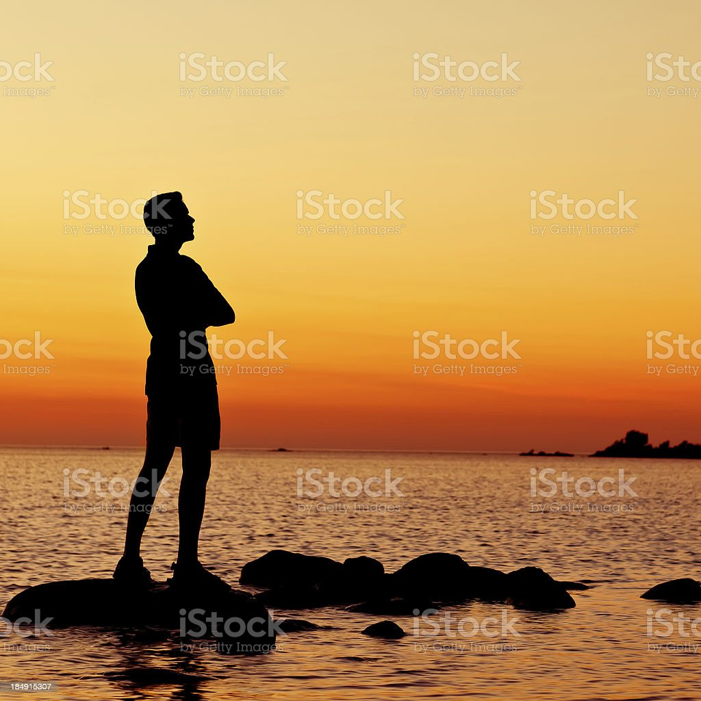 Young Man is Pondering in the Summer Evening - II royalty-free stock photo