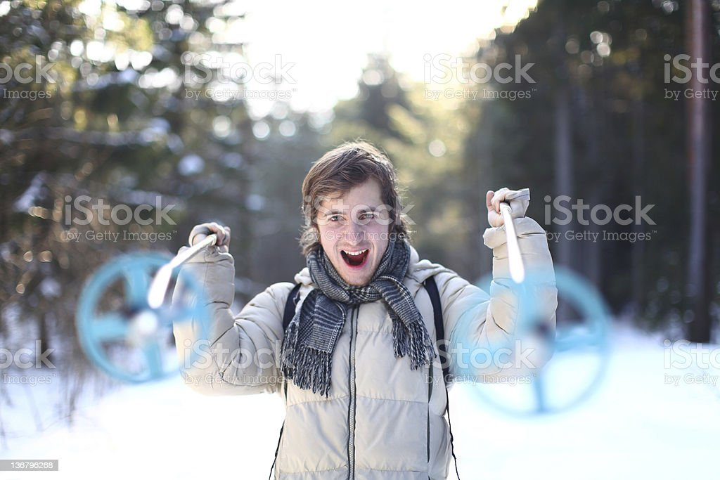 Young man is screaming on a cross-country path royalty-free stock photo