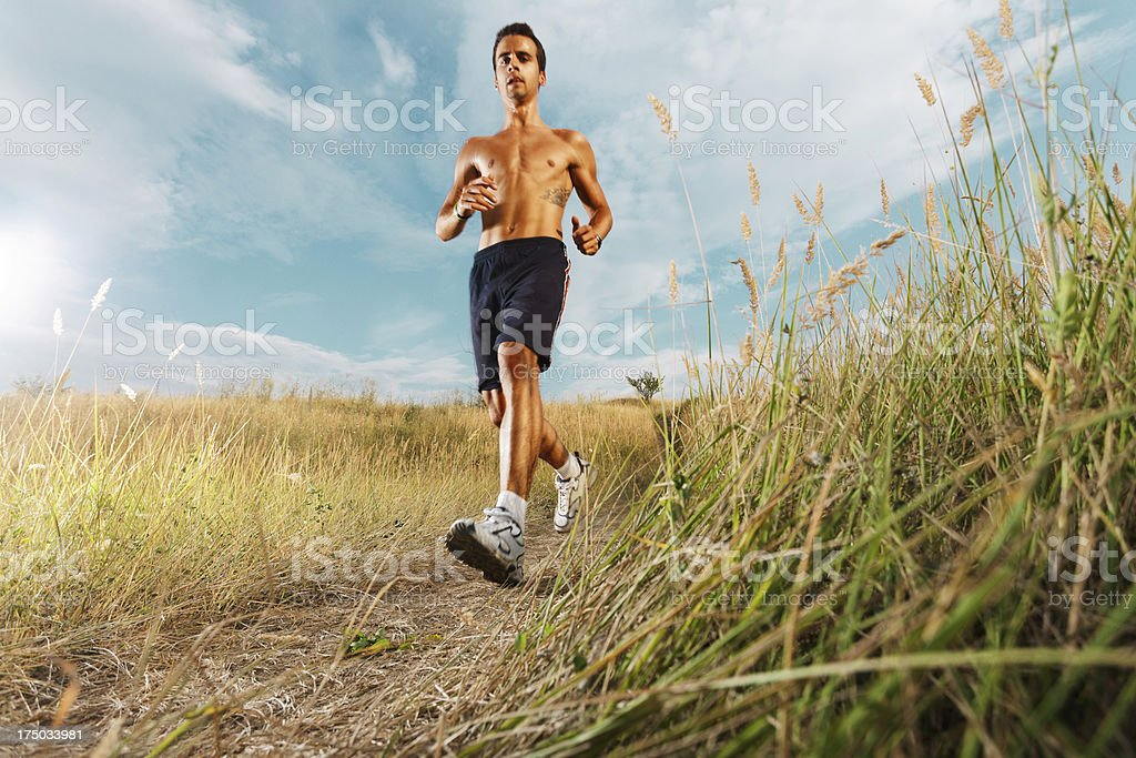 Young man jogging in nature royalty-free stock photo