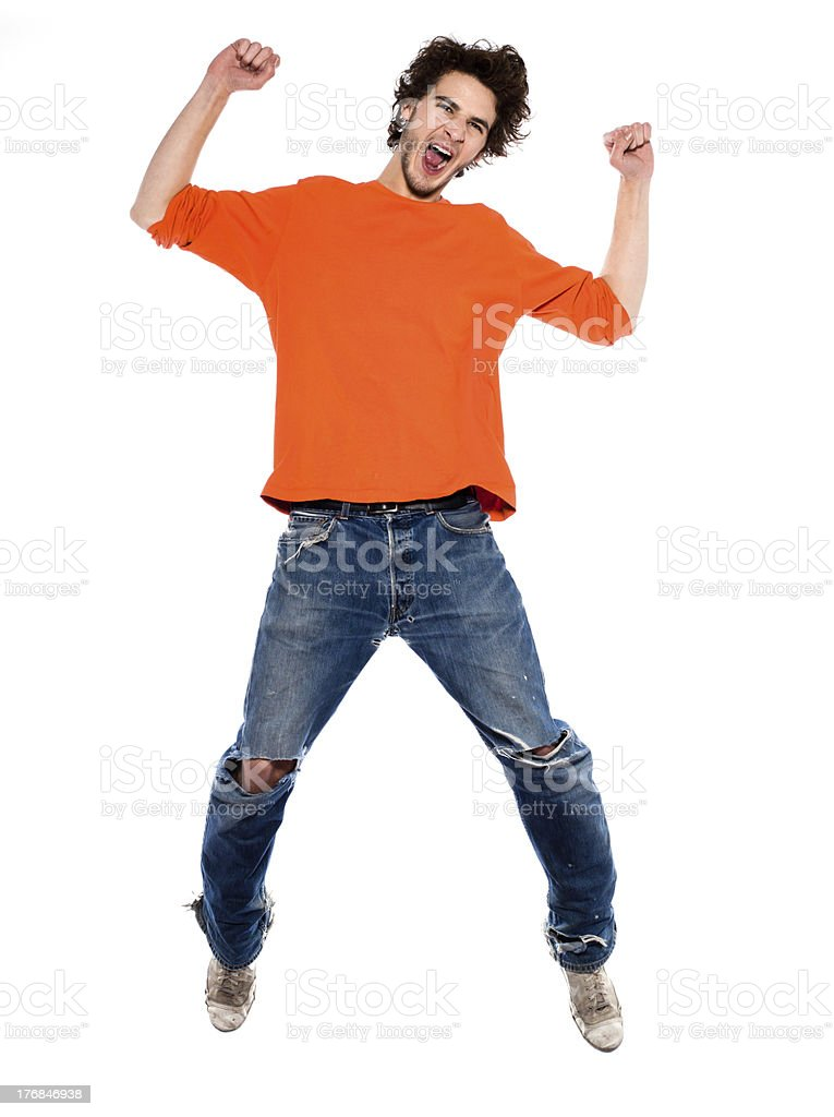 young man jumping happy joy full length royalty-free stock photo