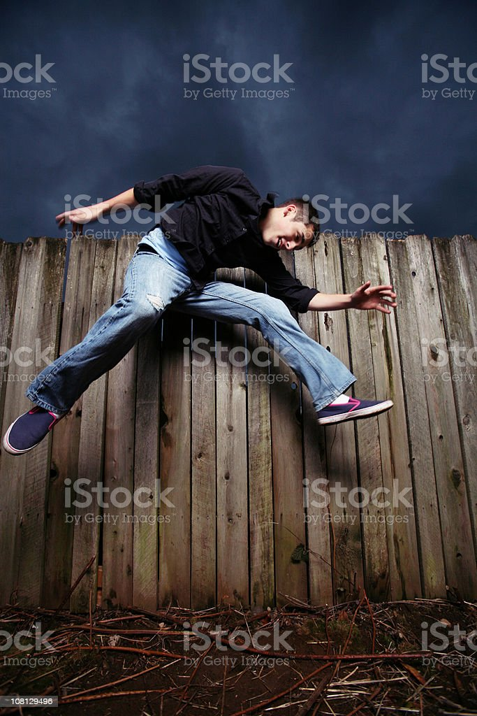 Young Man Jumping High in Air royalty-free stock photo