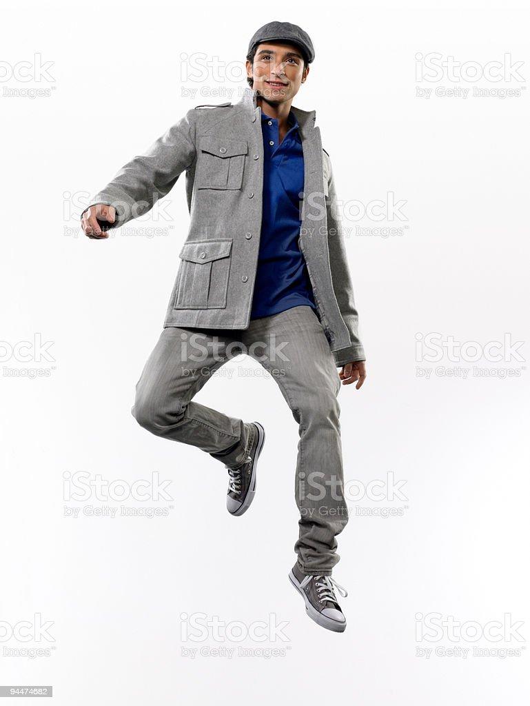 Young man jumping royalty-free stock photo